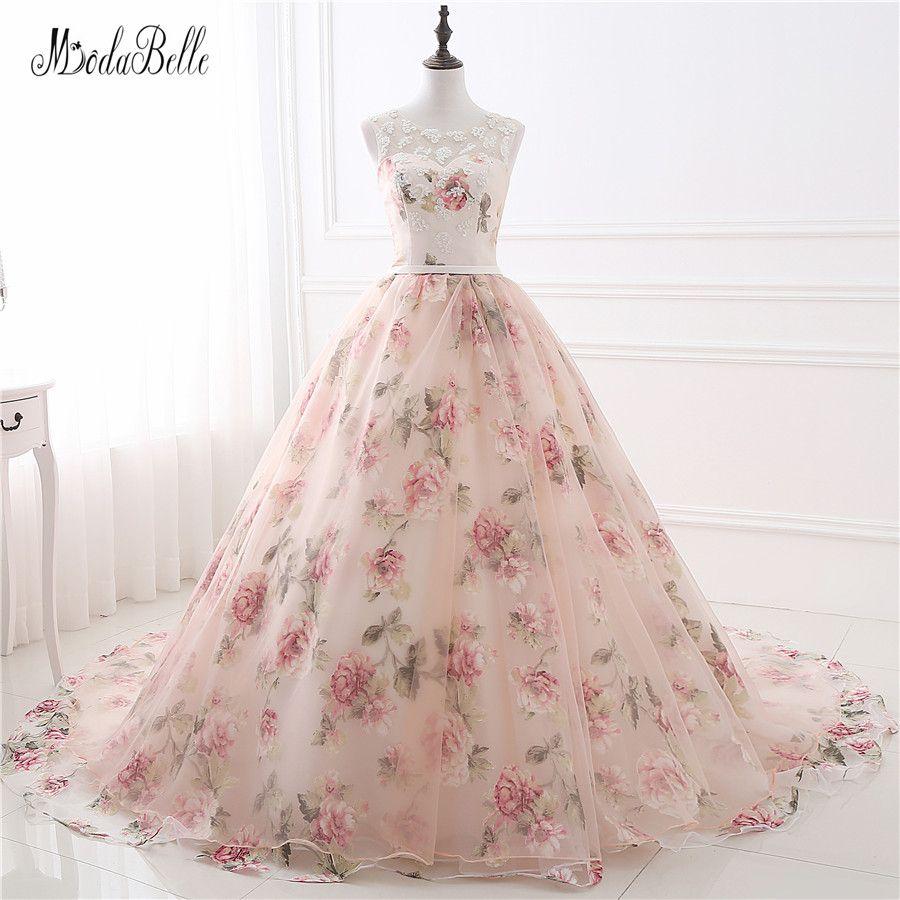Cheap Hermosa Flor de la Impresión Floral Vestidos de Novia Princesa ...