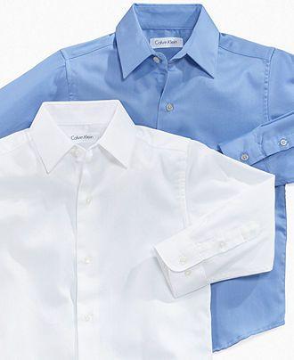 Calvin Klein Kids Shirt, Little Boy Long Sleeve Sateen Button Down Shirt - Kids Boys 2-7 - Macy's