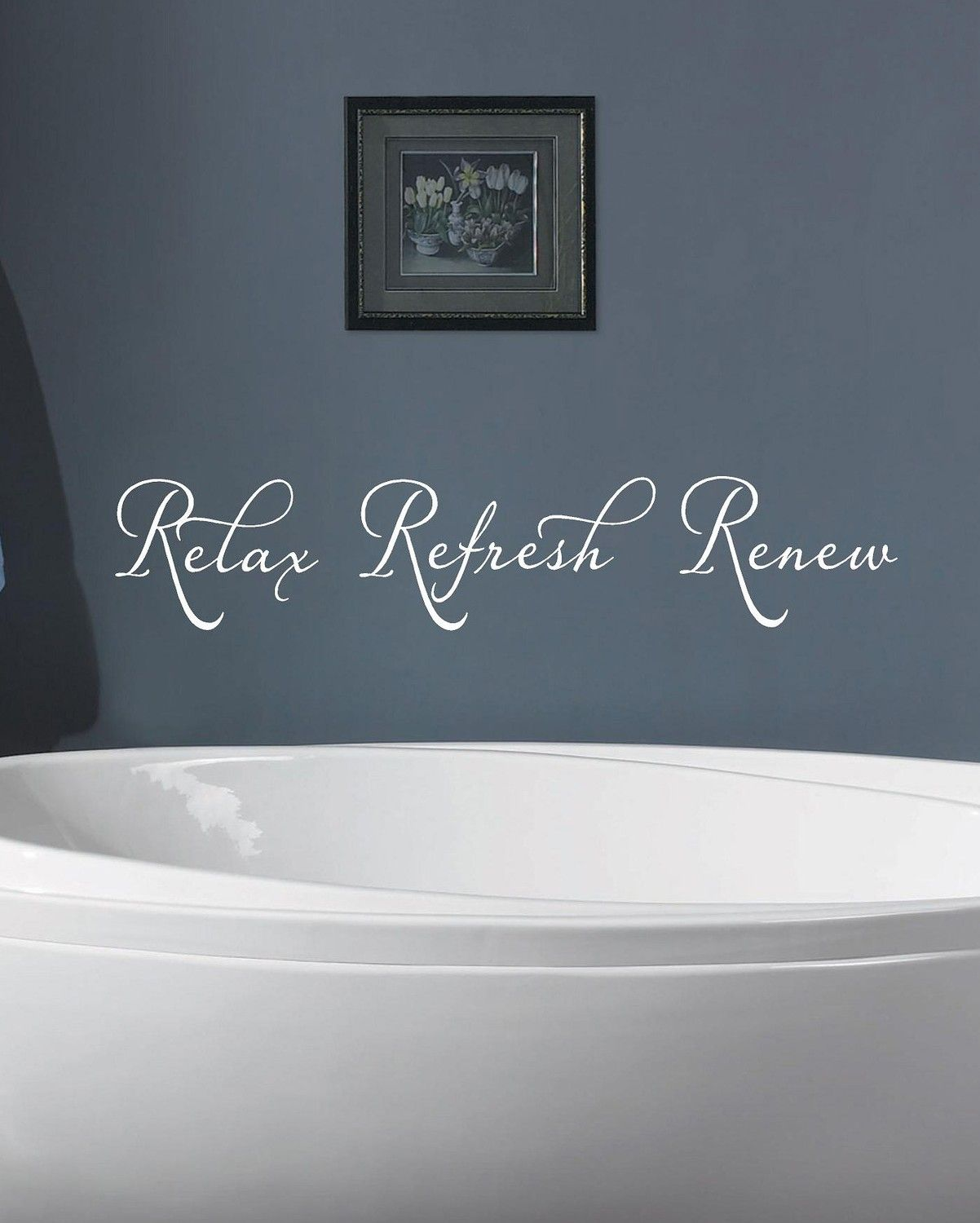 Relax refresh renew bathroom vinyl lettering wall art for Renew bathroom