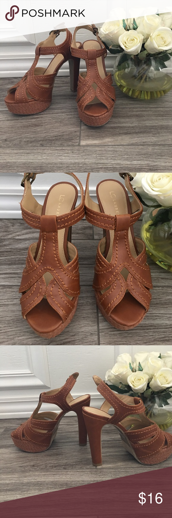 NWOT Brown stacked platform sandal Perfect for spring! These are platform Brown Lauren Conrad sandals. Adjustable back strap. 5 inch heel with a 2 inch front platform .Never worn brand new LC Lauren Conrad Shoes Sandals