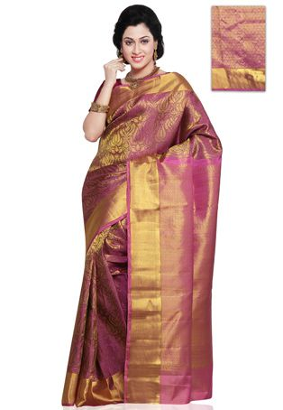 1c9332c4b982f2 Onion Pink Shot Tone Pure Kanchipuram Silk Saree with Blouse ...