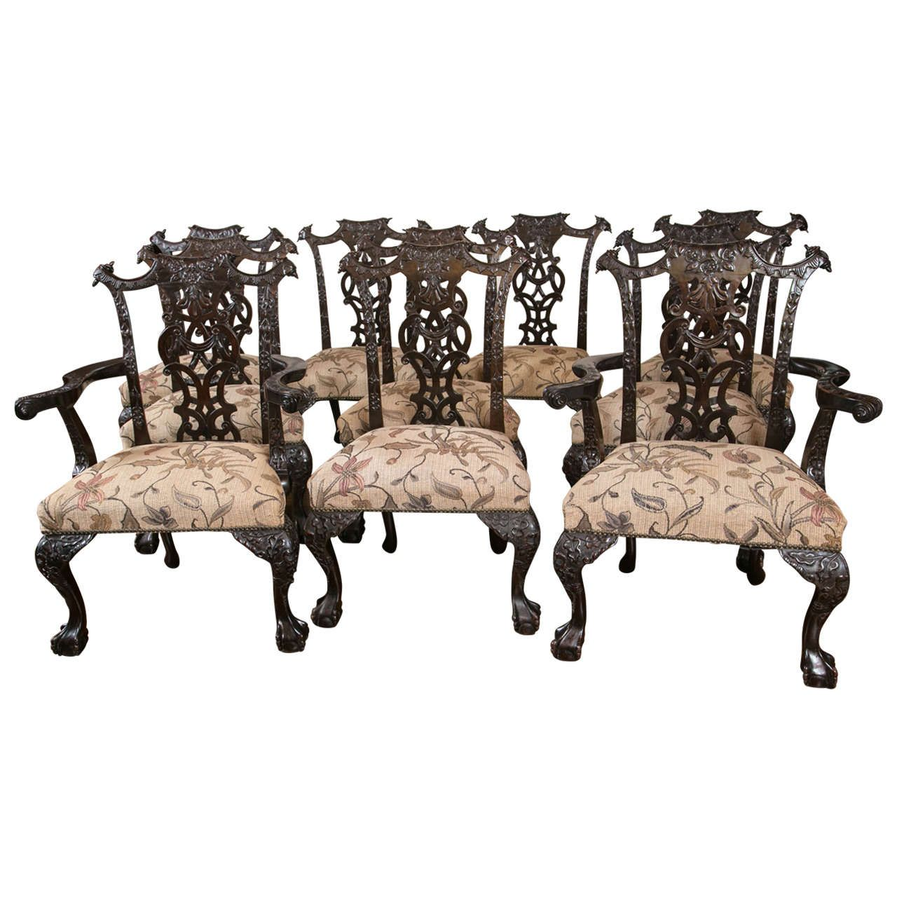 Set of Ten 19th Century Chippendale Style Carved Mahogany Dining Chairs |  From a unique collection - Set Of Ten Exceptional 19th Cent.Chippendale Style Carved Mahogany