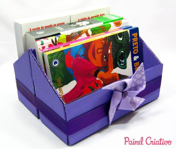 Como Fazer Porta Revista Livros Porta Trecos Caixa De Sapato 3