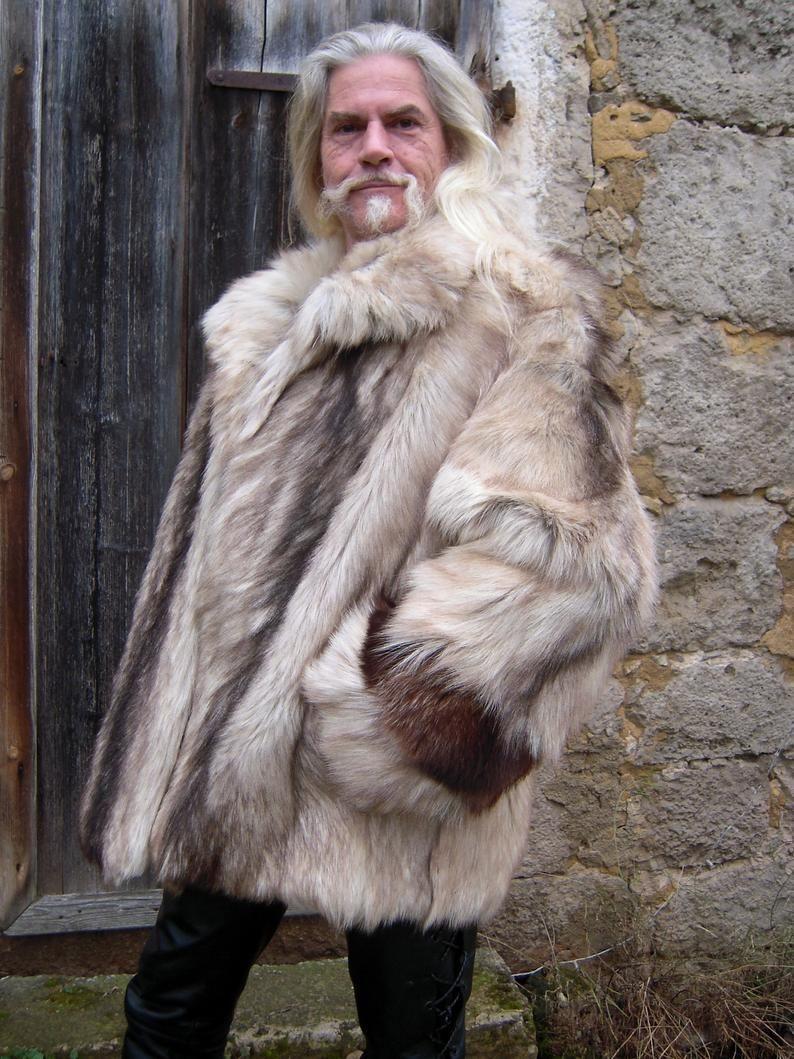 Men S Real Fur Coat Jacket Sibirian Mountaingoat Bluefox Etsy [ 1059 x 794 Pixel ]
