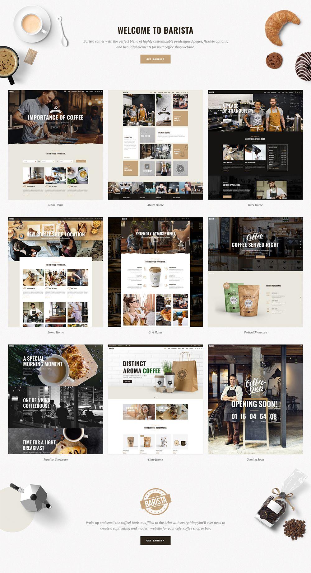 Barista Modern Wordpress Theme For Cafes Coffee Shops And Bars Modern Wordpress Themes Coffee Shop Cafe Website