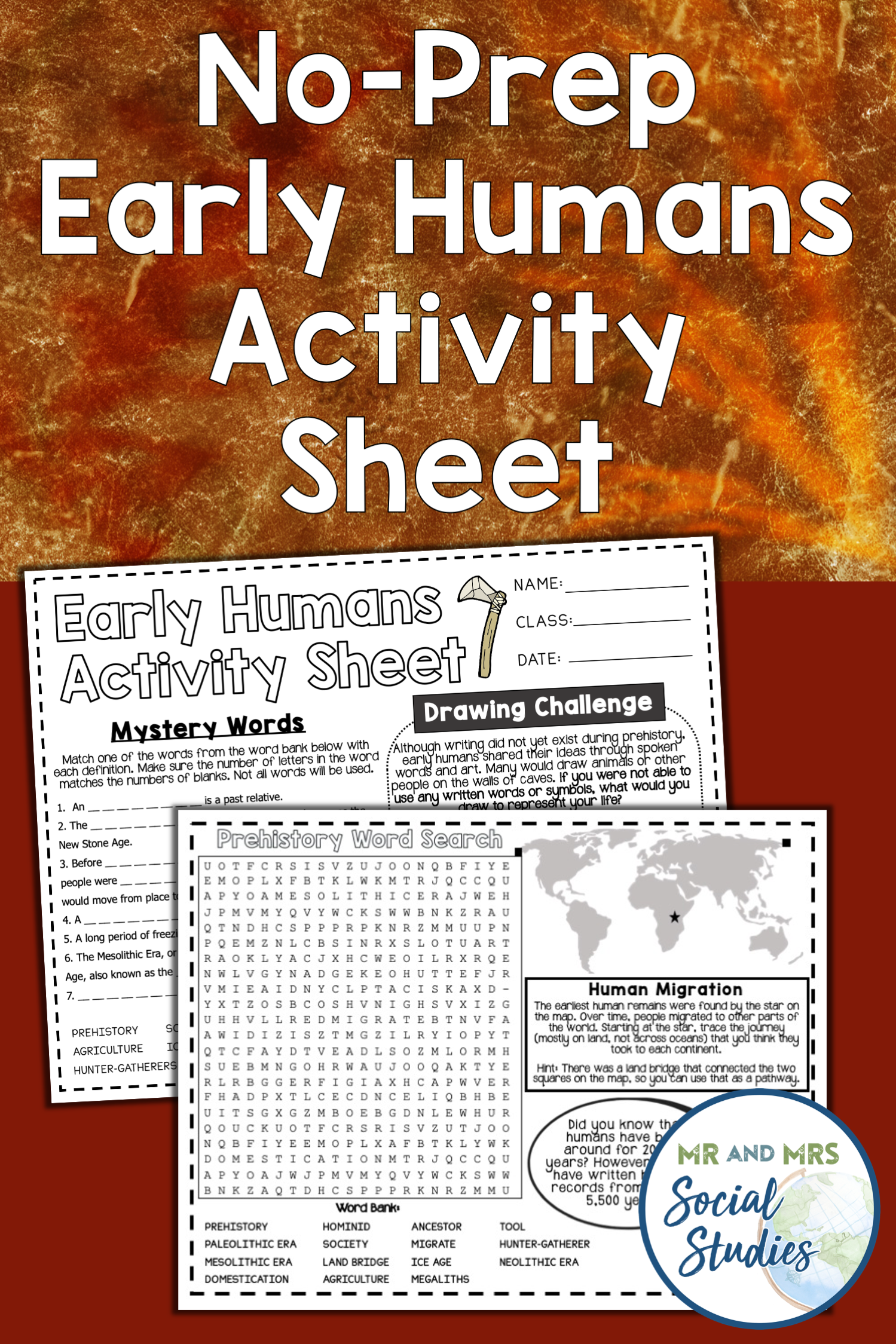Early Humans Activity Sheet For An Emergency Sub Plan Or