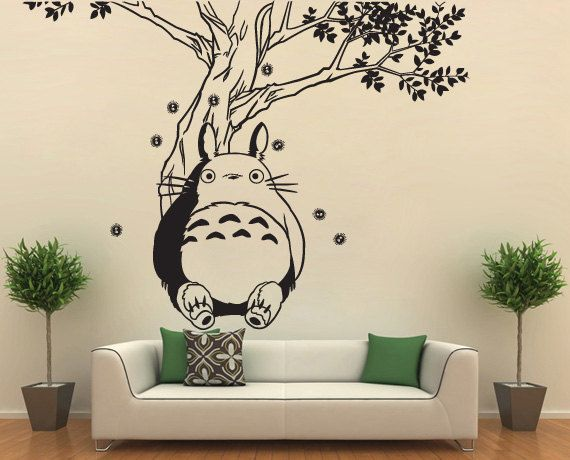 totoro under the tree vinyl wall art decal wd0594 by tapong
