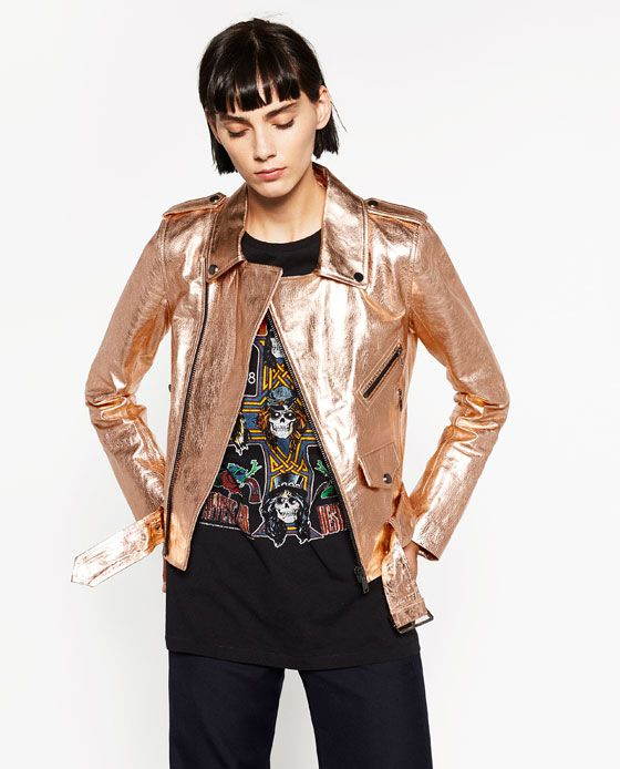 55359a82b5 ROSE GOLD METALLIC LEATHER JACKET from Zara