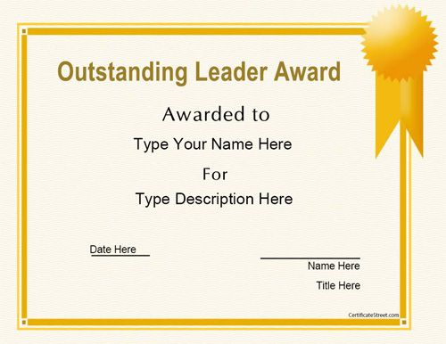 Business Certificate  Oustanding Leader Award  Certificatestreet