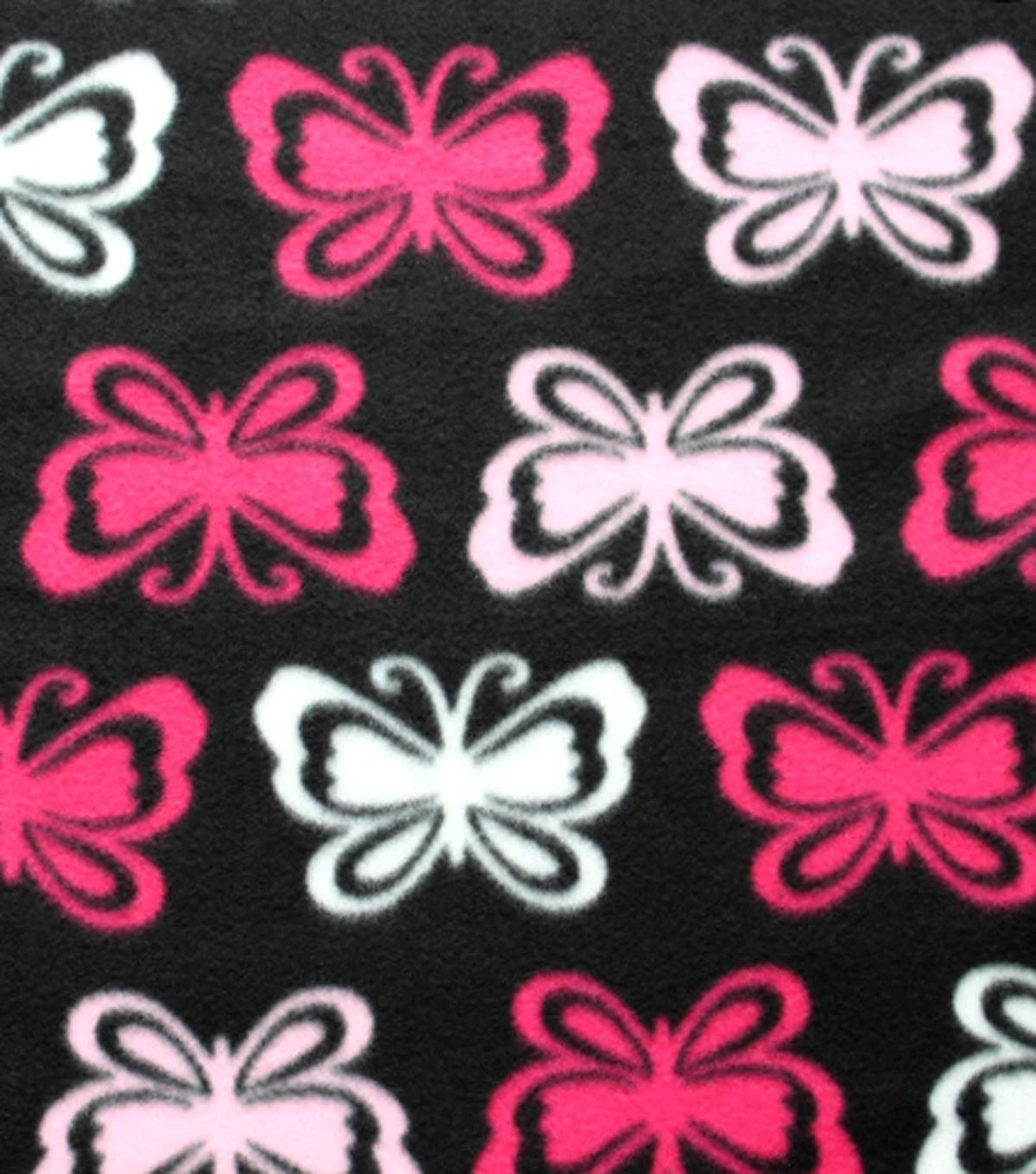 Blizzard Fleece Fabric Pink Butterfly On Black Disegni