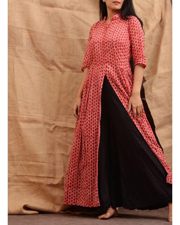 21e3fc2c31 The Secret Label Red Cotton Printed Front Cut Anarkali Kurti ...