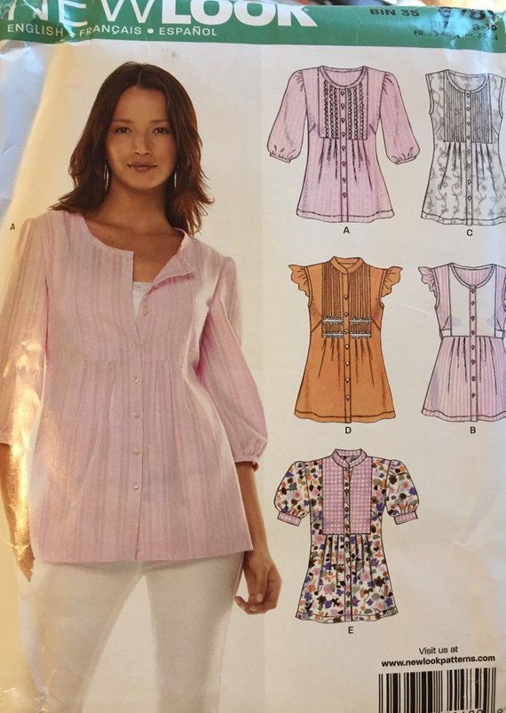 2e3c72e2735 Pullover Blouses Sewing Pattern New Look 6781 Size 8-18 Bust 30-40 inches  Uncut Complete