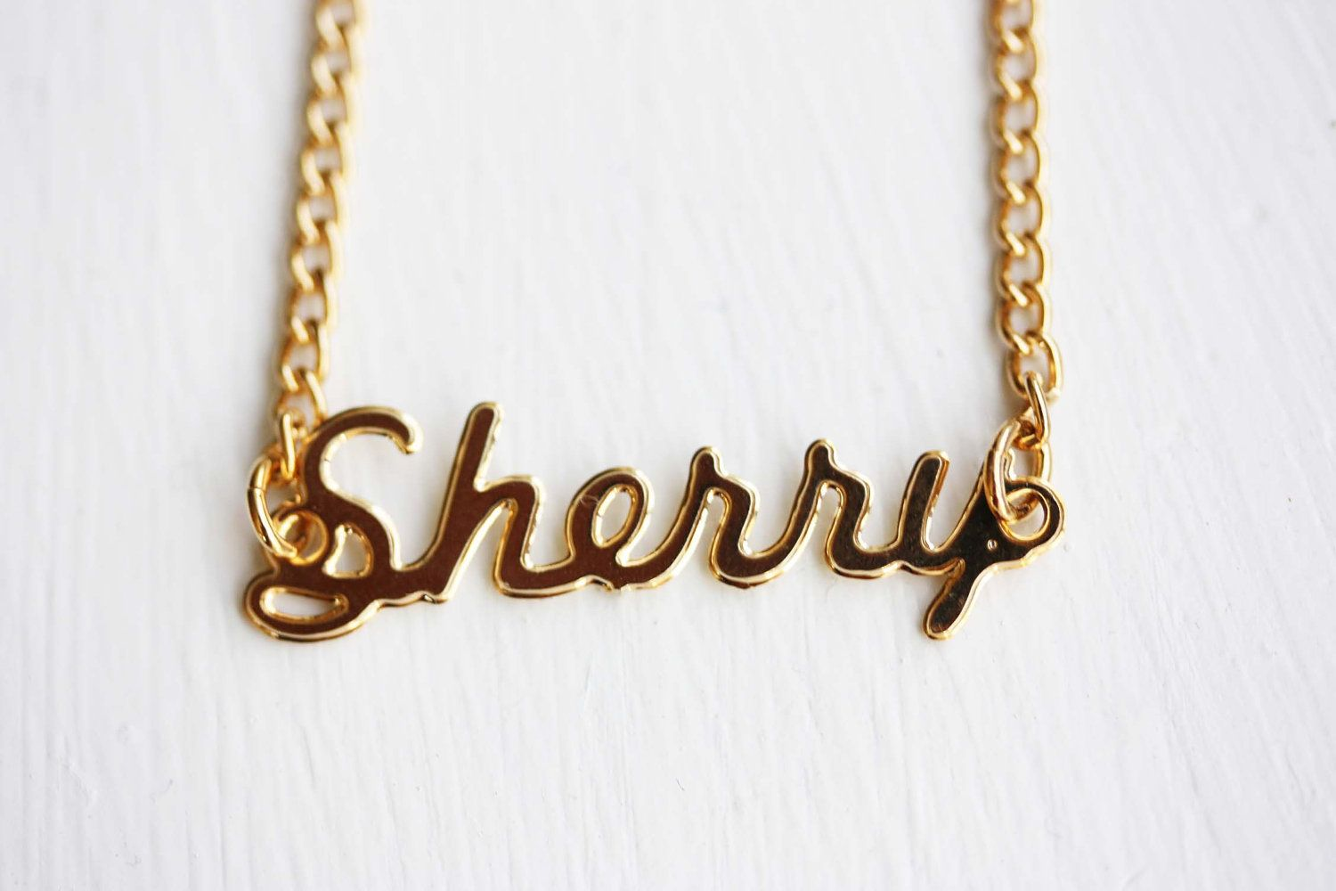 72c168e1c6a8a Vintage Name Necklace - Sherry | S is for Sherry | Gold name ...