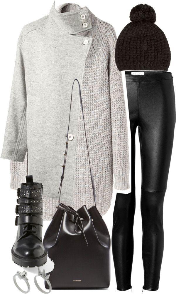 Untitled #15936 par florencia95 utilisant hauts à manches longuesHope hauts à manches longue / IRO gray coat / Burberry leggings noir / Topshop bottes de motard, $77 / Mansur Gavriel leather bag / ASOS ring / Miss Pom Pom pom beanie, $7.06