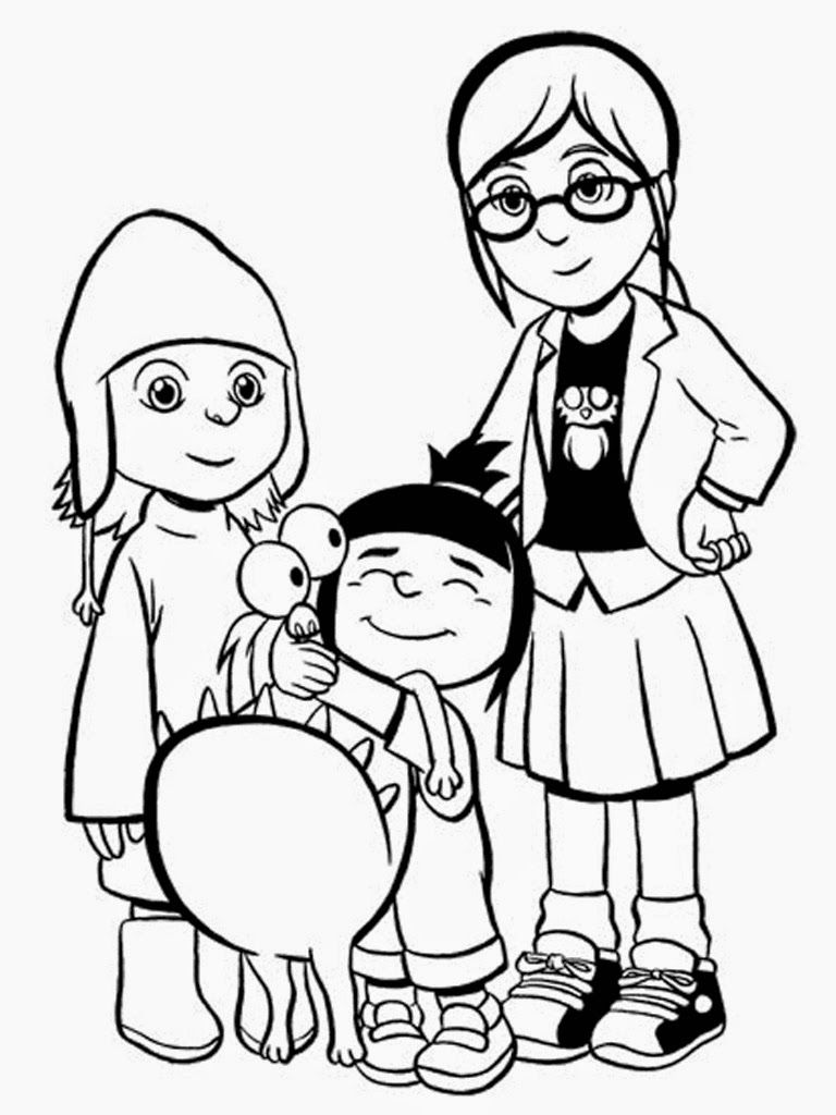 Download Free Despicable Me Margo Edith And Agnes Coloring Pages