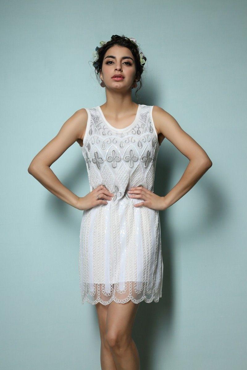 1920\'S great gatsby flapper girl sleeveless vintage tank dress ...