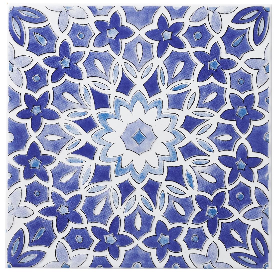 Bathroom: Fleur Blue Ceramic Wall Tile, (L)200mm (W)200mm Product ...