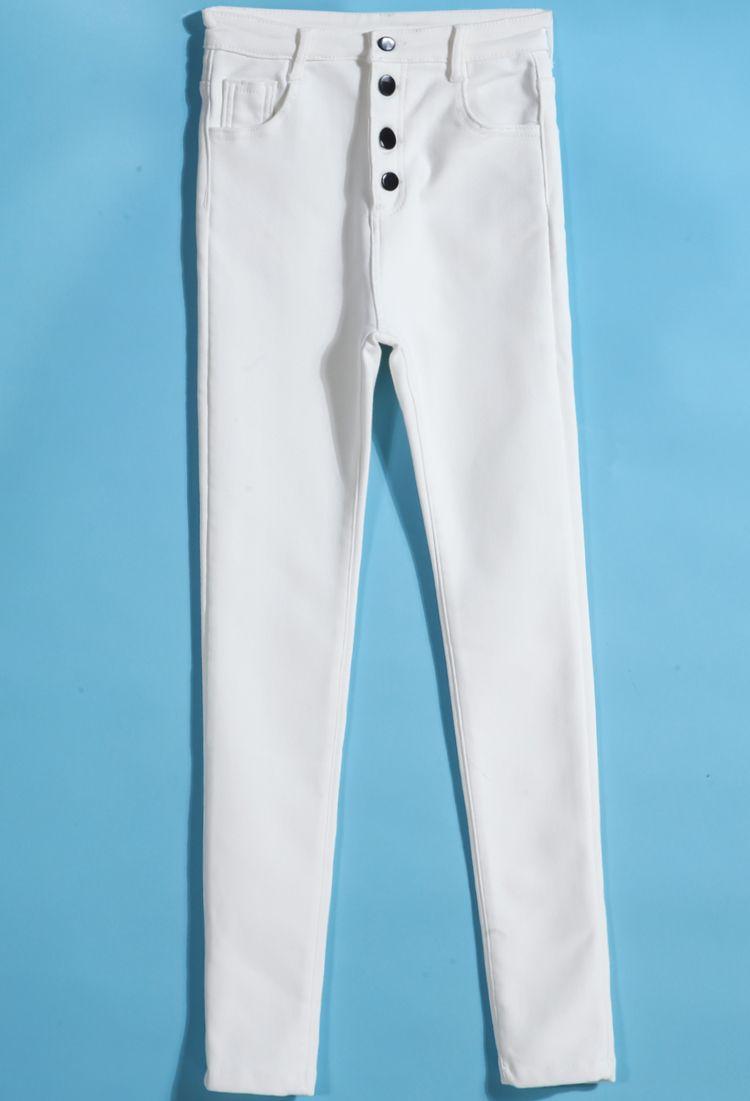 Pantalones bolsillo botones-blanco 15.44