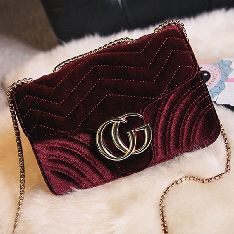 Women Handbag Luxury Designer Velvet Waves Flap Bag Chain Cross-body square Bags
