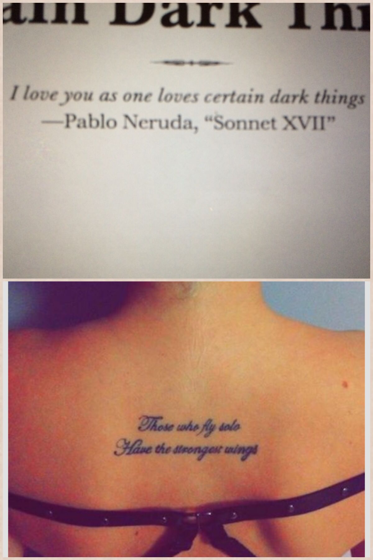 This quote with that back placement. Tattoos, First love