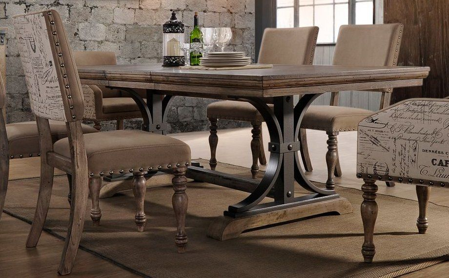 Superbe HM4280 30/TABLE Driftwood And Metal Dining Table   Metropolitan Collection  5 Piece Dining