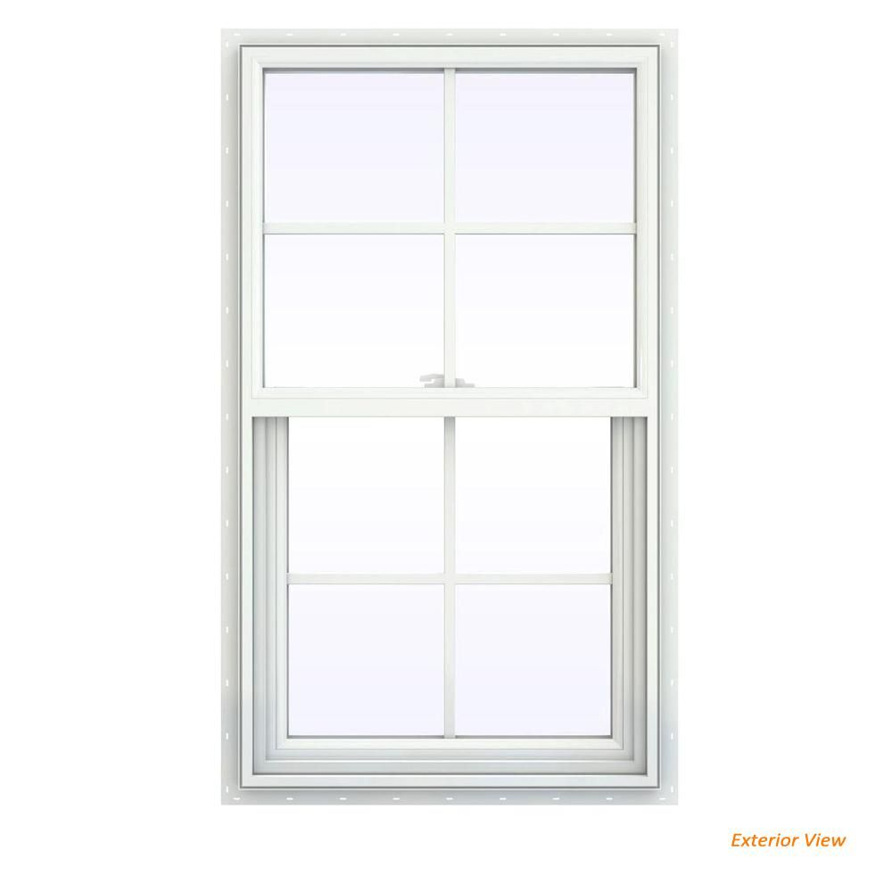 Double Hung Pane White Vinyl Window Replacement Buck Frame Colonial Grilles