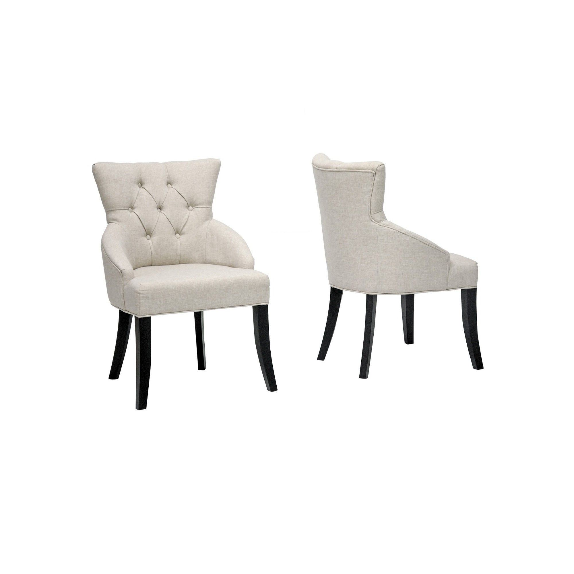 Halifax Linen Dining Chair Beige Set Of 2 Baxton Studio Linen Dining Chairs Dining Chairs Dining Room Chairs Modern