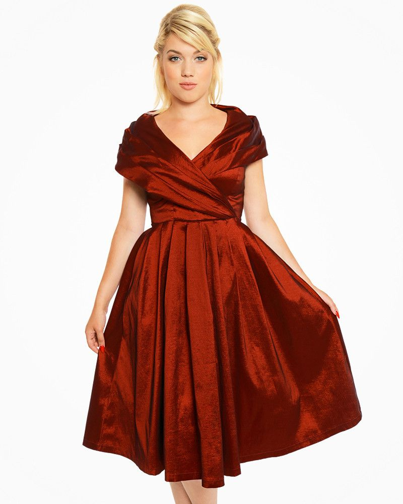 62f26bf5204 Amber  Vintage 1940s Rust Red Occasion Dress with Oversized Collar ...