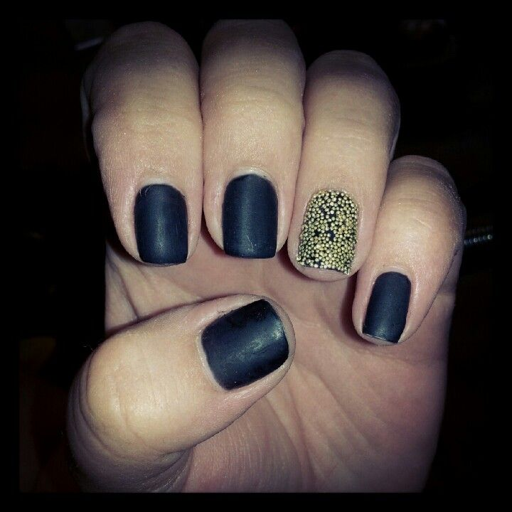 Caviar nail with matte black no chip! Nails done at awesome nails in ...