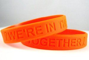 """Orange Awareness Silicone Bracelets 25 Pack """"We're in This Together""""  http://electmejewellery.com/jewelry/bracelets/stretch/orange-awareness-silicone-bracelets-25-pack-we39re-in-this-together-com/"""