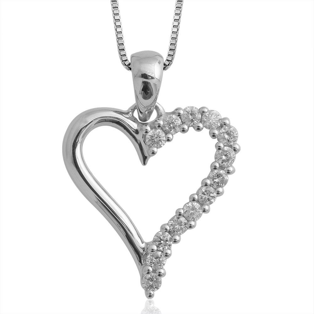 025 carat heart diamond pendant necklace in 10k white gold hi i1 025 carat heart diamond pendant necklace in 10k white gold hi i1 i2 mozeypictures Gallery