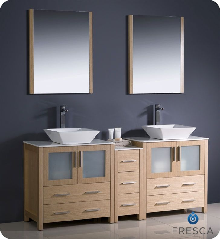 "Fresca Torino 72"" Oak Modern Double Bathroom Vanity"
