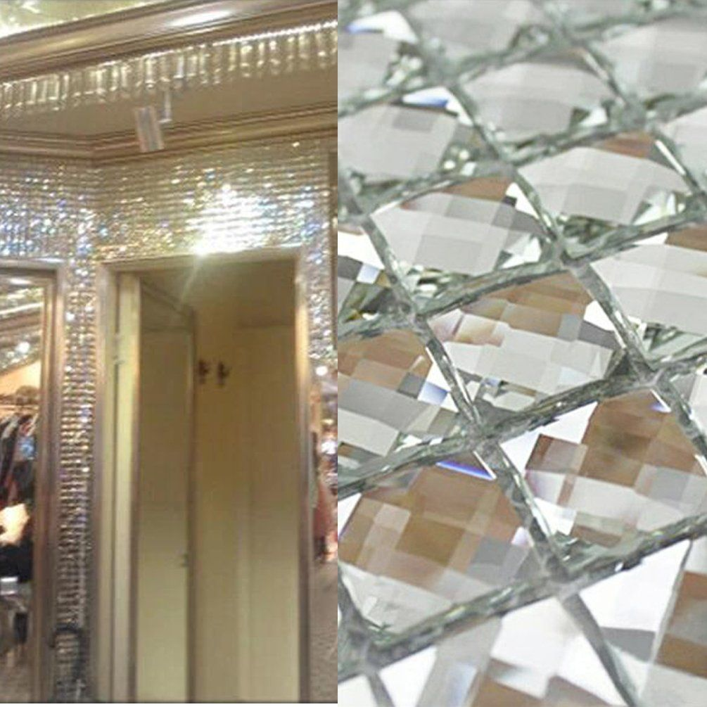 Mirror tiles silver bathroom wall sheets crystal diamond mosaic tile