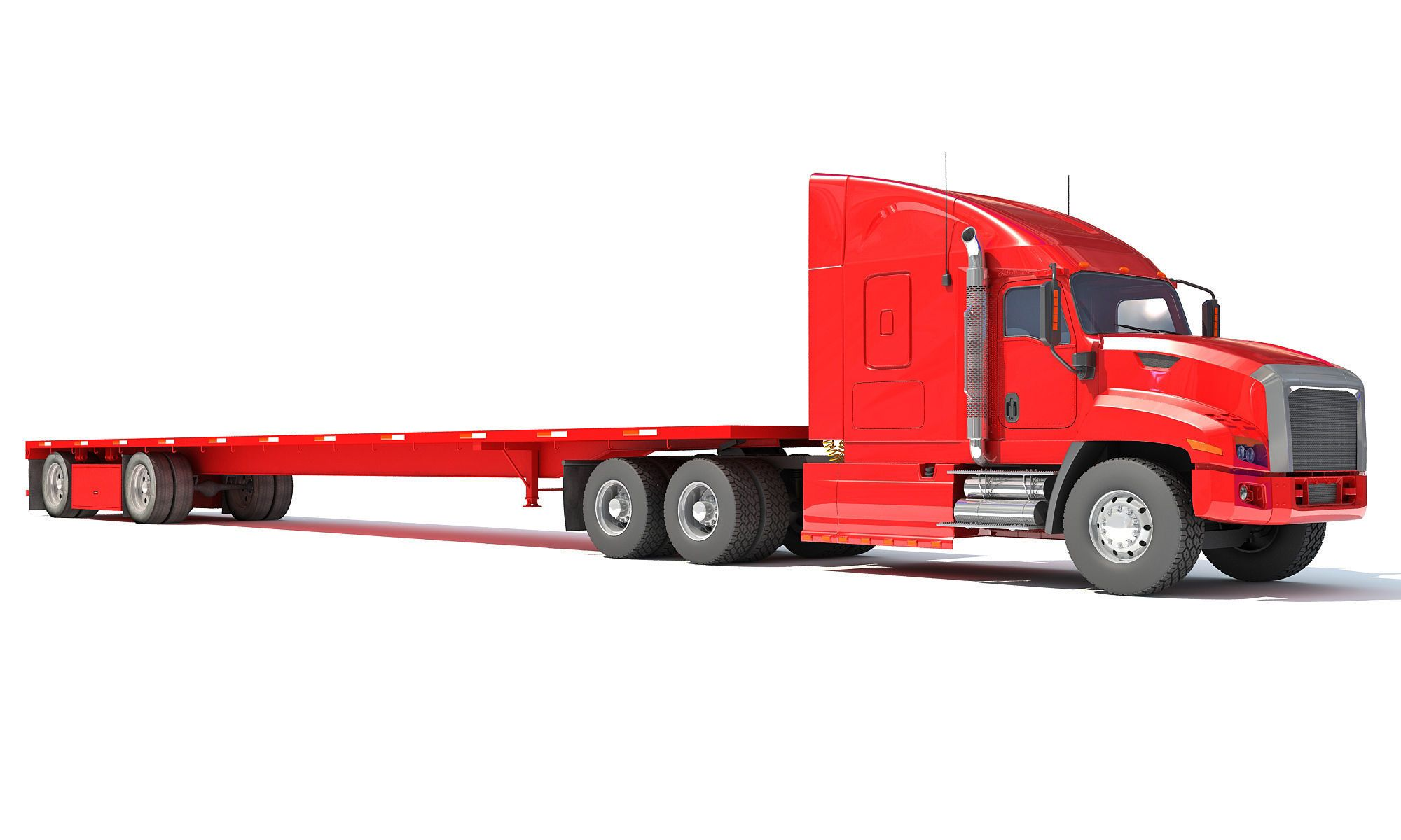 Freightliner Truck With Flatbed Trailer 3d Model With Images