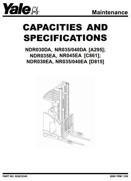 Yale Truck Ndr030da Nr035 040da Ndr035ea Nr045ea Ndr030ea Nr035 040ea Service Manual Forklift Instruction The Originals