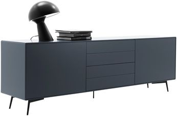 Sideboard Charcoal Grey Lacquered Matt Black Structure Lacquered