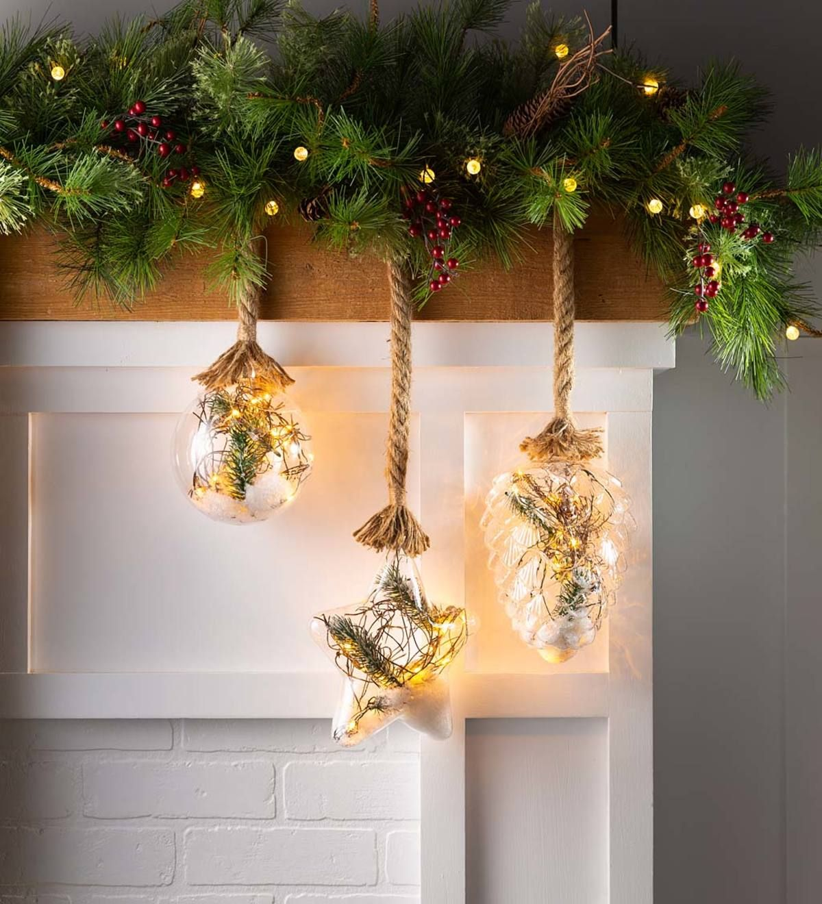 Indoor Outdoor Oversized Lighted Glass Ornament With Greenery Glass Ornaments Christmas Window Decorations Glass Christmas Ornaments