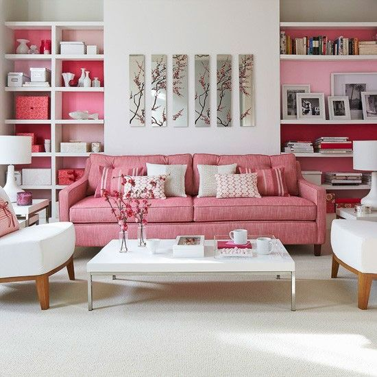 White living room with pink painted alcoves | Rose-tinted room ...