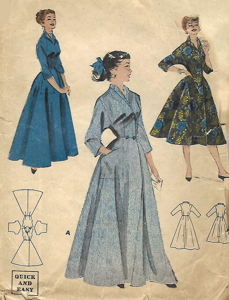 Multi Size B33 51 Vintage 1950 S Sewing Pattern Housecoat Robe Dressing Gown Dressing Gown Pattern Vintage Dresses Gowns Dresses