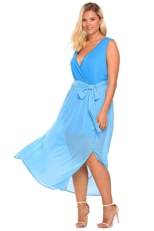 IN\'VOLAND Women\'s Plus Size V Neck Split Chiffon Party Wedding Maxi ...