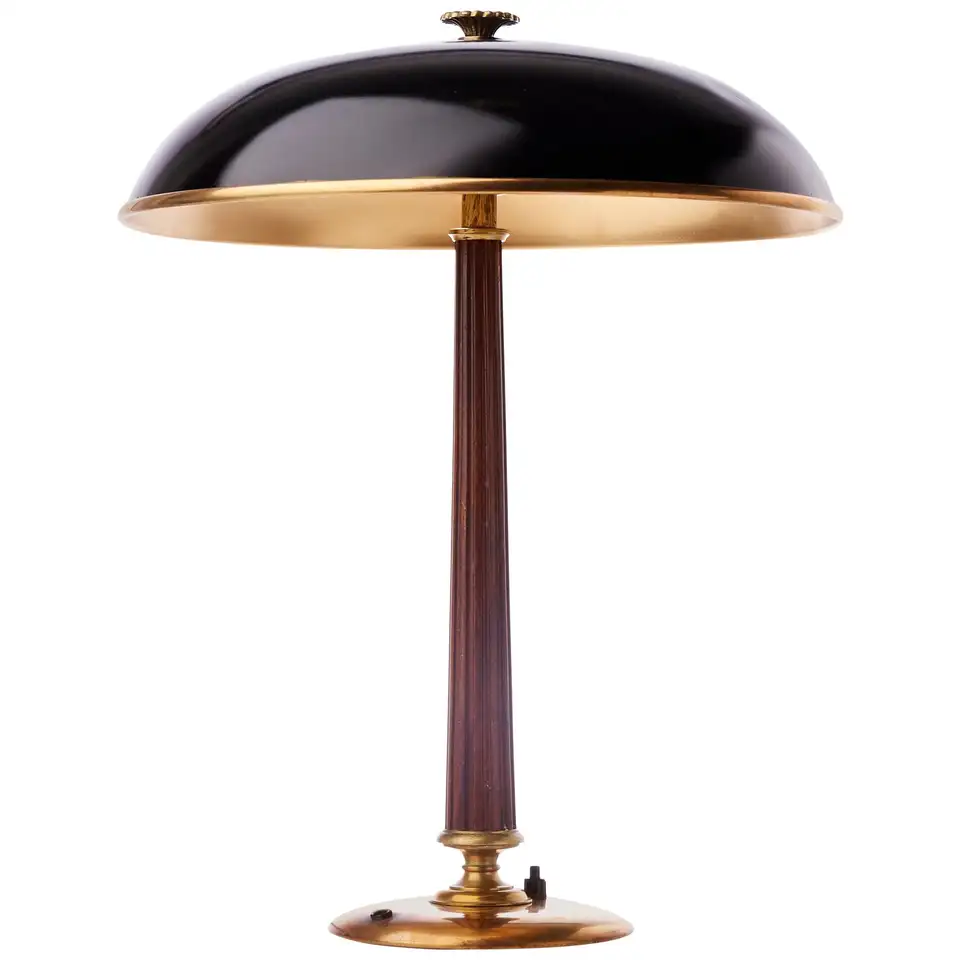 Brass And Mahogany Table Lamp By Bohlmarks Sweden 1940 In 2020 Table Lamp Lamp Mahogany Table