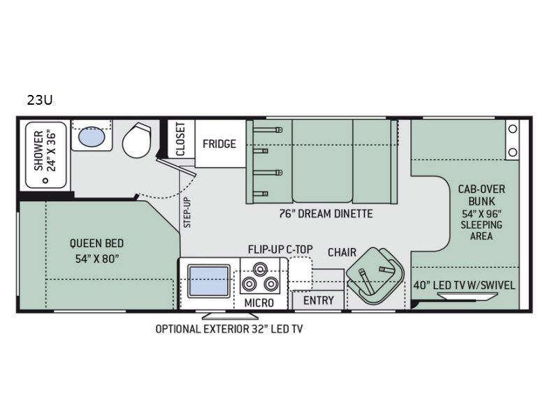 Chateau 23u Floorplan Saw At Rv Show Kind Of Small But No Slide