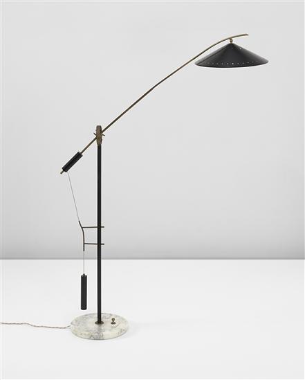 Angelo Brotto Painted Metal Brass And Marble Counter Balance Floor Lamp For Esperia 1950s Floor Lamp Lamp Floor Lamp Lighting