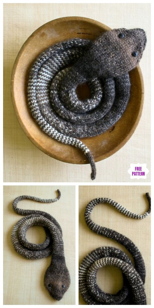 Easy Knit Striped Stockinette Snake Free Knitting Pattern #knitting