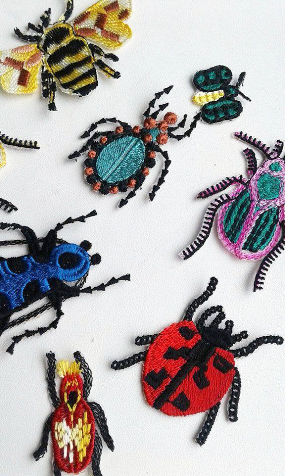 Moks13(p) Set 12 pieces Styled Bugs Insects Embroidery