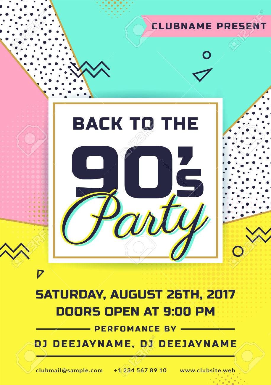 90s theme party invitation template