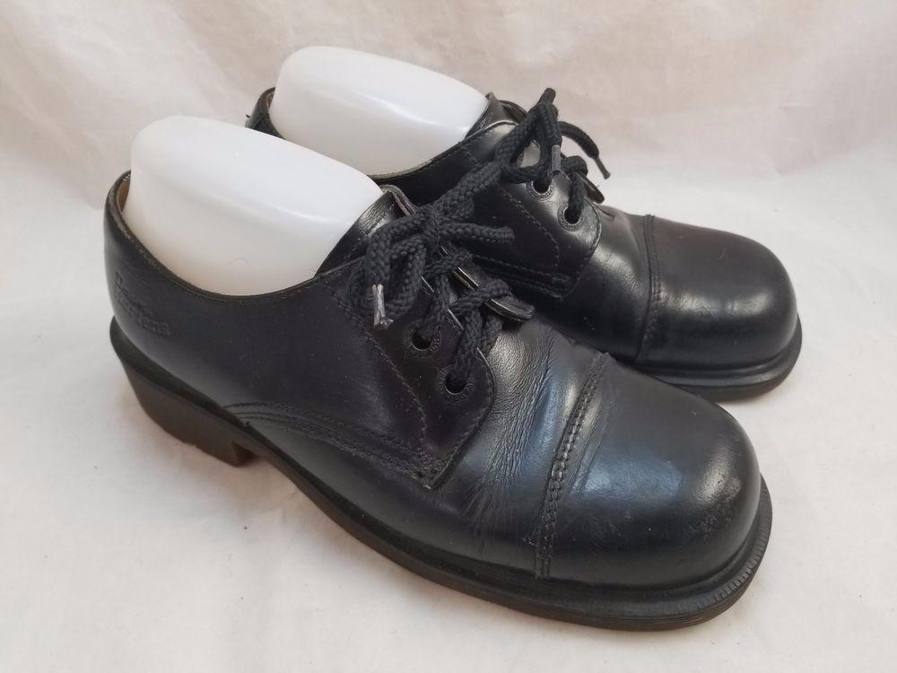 Vtg 90s DR MARTENS 8309 Made in England Black Leather Shoes Skin Punk UK 6  US 8