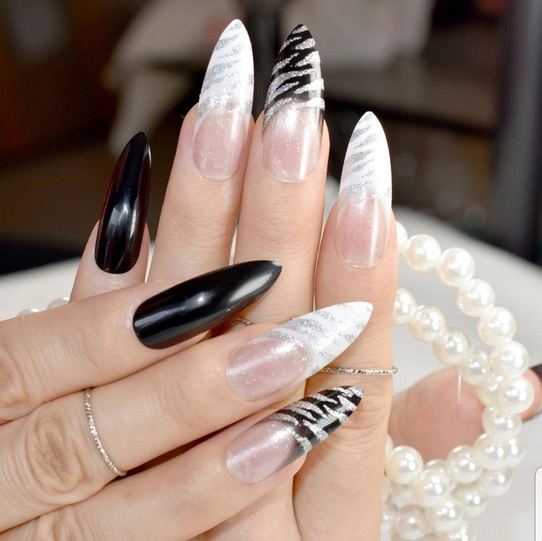 Маникюр дизайн на длинные острые ногти фото