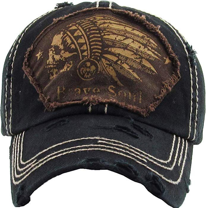 ac78614111486 KBVT-1058 BLK Indian Head Vintage Baseball Cap Distressed Dad Hat at Amazon  Men s Clothing store
