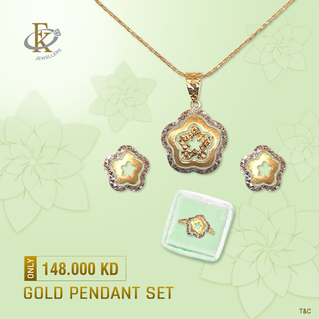 Accessorize a little or a lot with this gorgeous gold pendant set